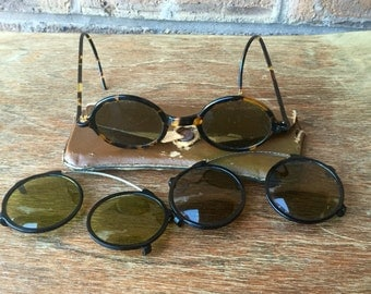 Vintage Bakelite Tortoise Shell Style Round Tea Shades WW2 USSR with 2 Tinted Lenses and Case