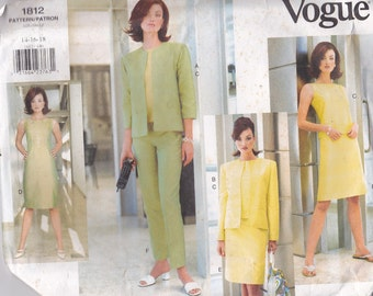 Vogue Sewing Pattern - No 1812 Jacket, Dress, Top, Skirt, Pants  Size 14-18 Factory folded and complete