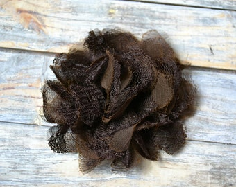 BROWN Flowers - The Charlotte Collection - Small Shabby Chiffon and Lace Puff Flowers - DIY Headbands - Fabric Flower Head Blossoms Rose