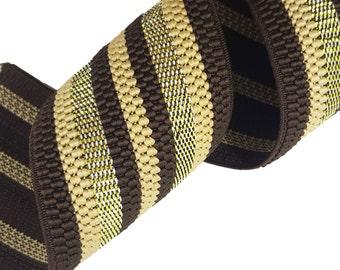 Metallic Gold Brown Striped Rubber Elastic Ribbon Trim 2 Yards