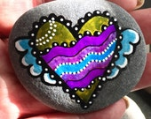 angel's love / painted rocks / painted stones / rock art / heart rocks / winged hearts / hand painted stones / heart stones / paperweights