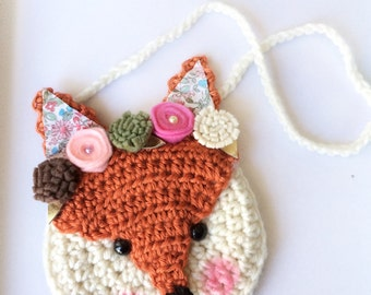 Fiona Fox purse, fox crochet purse, purse, toddler purse, crochet purse, animal purse, floral, woodland