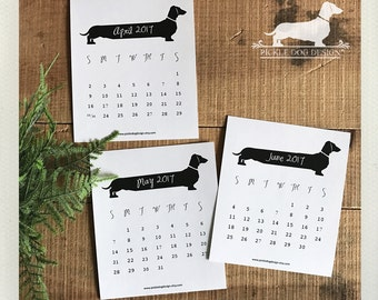 75% OFF! White Long Doxie. 2017 Desktop Calendar -- (Vintage-Style, Dog, Dachshund, Weiner Dog, Monthly Calendar, Rustic, Simple, Under 10)