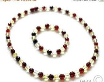 CHRISTMAS SALE Set of Baltic Amber Cherry and Lemon Necklace and Bracelet. Faceted round amber beads