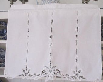 White cotton and battenburg lace window valance, curtain, covering, rod pocket top, clean and new condition