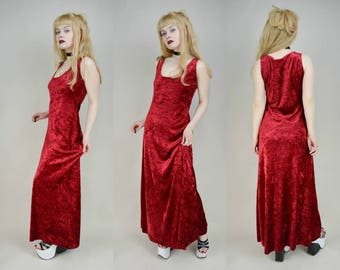 90s Gothic Red Crushed Velvet Maxi Dress