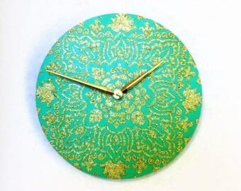 Wood Wall Clock, Mandala Home Decor, Teal and Gold Glitter Mandala, Home Decor, Decor and Housewares, Home and Living