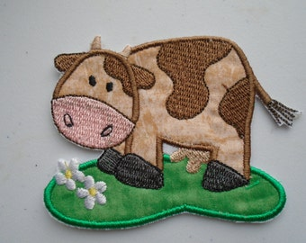 Barnyard cow embroidered iron on applique  patch
