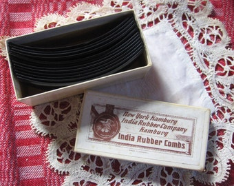 Vintage Hair Combs India Rubber Combs Ten Combs Original Box Made in Germany Hair Dressing Accessories 4 inches by 1 and 1/4 inches C 1930's