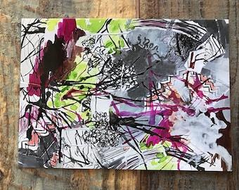 Art print postcard abstract painting 5 x 7