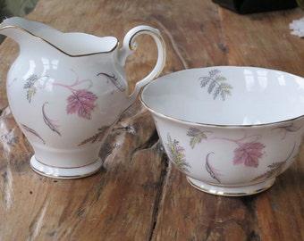 Tuscan ' Windswept' vintage china milk jug and sugar bowl