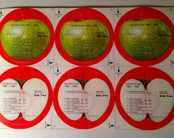 """Mint Vintage The Beatles USA Apple labels for """"1962-1966 LP"""" (no record)"""