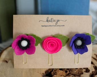 Felt Flower Planner Clips/Felt Flower Paper Clips/Felt Flower Bookmark/Planner Accessory