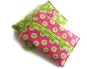 Set of 2 x Paper Hankerchief Holders - Cotton Fabric Cover for Paper Tissues -Kleenex Cover Case