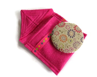 Pink felt cosmetic pocket mirror  pouch with mirror- fabric covered handbag mirror - Felt pouch