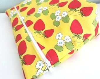Strawberry Makeup Bag - Modern Makeup Bag - Bridesmaid Gift  -  Cosmetic Bag - Waterproof Bag - Kawaii Fabric
