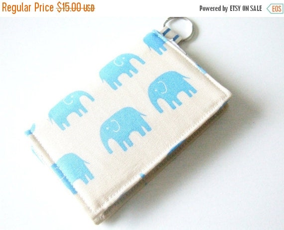 HALLOWEEN SPECIAL SALE Wallet - Business Card Holder - Velcro Wallet - Key-chain Wallet - Elephant Fabric
