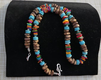 25 Inch Chunky Southwestern Bronze Matt Finish Hematite Nugget Necklace with Colorful Mother of Pearl and Turquoise