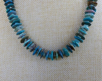 21 Inch Rustic Natural Arizona Mined Blue Turquoise Disk Necklace