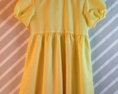 RESERVED LISTING vintage lemon yellow pinstriped girls dress with Peter Pan collar by sylvia whyte size 5-6 years