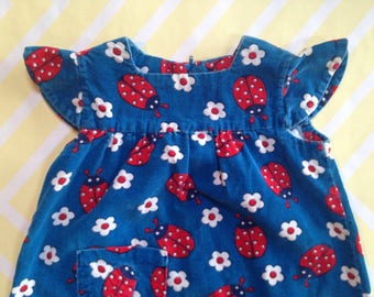 vintage homemade corduroy girls dress with ladybugs and flowers size 3-4 years