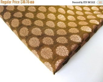 ON SALE SALE Moss green gold flower India silk India silk brocade fabric nr 175 Remnant