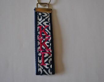 Kappa Kappa Gamma Keychain-Navy/White Preppy Corduroy Fabric Navy Webbing/Hot Pink Monogram KeyFob Wristlet(OFFICIAL LICENSED PRODUCT)