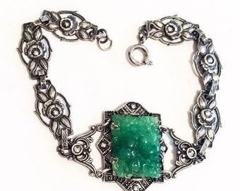 German Art Nouveau Bracelet, Jade Glass, European Silver, Vintage Jewelry SPRING SALE