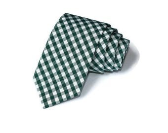 Hunter Green Gingham Necktie~Anniversary Gift~Wedding Tie~Mens Gift~Boys Necktie~Mens Necktie~Wedding~HoBo Ties~Mens Tie~Hunter Tie