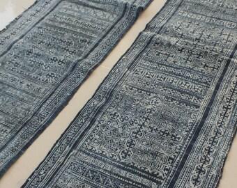 Handwoven Homespun batik  hemp, Hmong  Vintage textiles and fabric- table runner from Thailand
