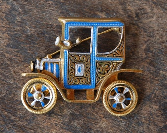 Vintage Car Brooch Model T Damascene Blue Black Silver Enamel Gold Tone Articulated Wheels Mid Century Mod 1960's // Vintage Costume Jewelry