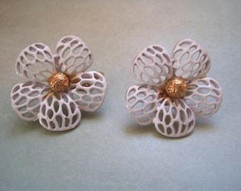 Vintage Flower Earrings White Gold Tone Clip Ons 1960s 1970s