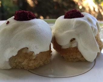 Vegan  Gluten free Mini Coconut Vanilla Raspberry  donuts 12 pieces