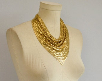 Vintage 70s Whiting and Davis Gold Metal Mesh Necklace / 1970s Glam Disco Jewelry / Silver Bib Necklace Choker