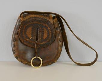 Vintage Tooled Leather Handbag / 1970s Dark Brown Hand Made Hippie Boho Leather Festival Purse Shoulder Bag