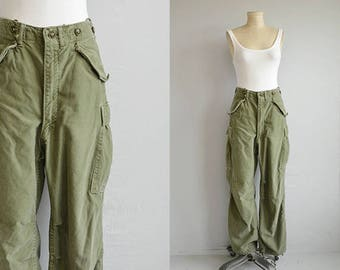 Vintage Army Pants / 50s Authentic Olive Drab Worn Military Trousers / CArgo Work Pants