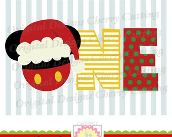 Christmas ONE with Santa hat,Santa hat Mickey ONE SVG,Christmas Silhouette & Cricut Cut Files CHSVG12 -Personal and Commercial Use
