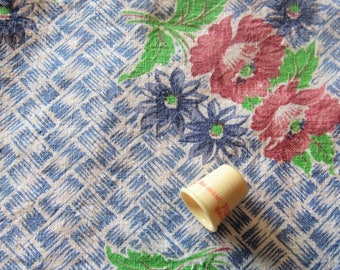 vintage FULL feed sack fabric -- blue and red floral print