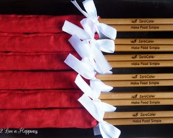 Customised Engraved Chopsticks in Fabric Sleeves and Ribbons/ Corporate Gifts with Company Logo (min 20 pairs)
