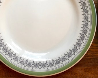 Lunch or Salad Plate, Grey Transferware Green Border Restaurant  Ware, Sterling China ca. 1950