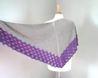 Hand Knitted Shawl Wrap, Brown & Purple, Lace Shawl with Border, Light Weight, Luxury Natural Fiber, Prayer or Wedding, Merino Wool Silk