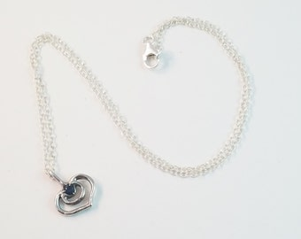 Sterling Silver Heart Pendant Lab Created Sapphire Stone Set in Place on Textured Chain 18 Inches / Lost Wax Casting / Je T'Aimee Jewelry