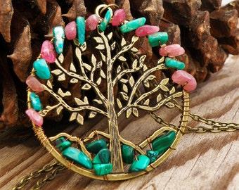 Tree Stone Necklace Crystal Jewelry Malachite Pink Tourmaline Amazonite Antique Bronze Tree of Life Pendant Boho Chic Hippie Gypsy Bohemian