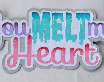 CraftECafe Paper Piecing You Melt my Heart title, Winter, Girl Premade Layouts