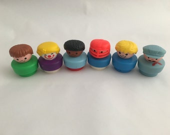 Vintage Fisher Price Little People, Round Little People Toys, 90s Little People