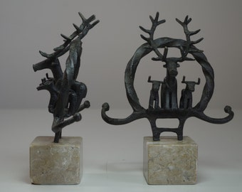Vintage Wrought Iron Deer Bookends or Paperweights