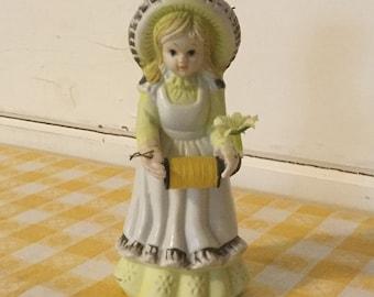 Vintage Little Girl Pincushion,Thread Holder,Scissors Holder,Sewing Supplies