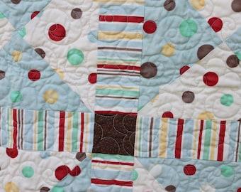 Polka Dot Pinwheels- Red, Blue and Brown- Nursery Rhyme- Baby Quilt
