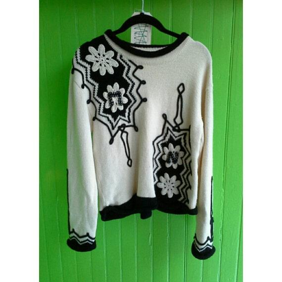 Vintage 1980s Matsuda Japan Black and White Wool Knit Sweater