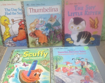 Mixed Lot of Children's Little Golden Books, Vintage Kids Books Set, Vintage Paper Ephemera and Crafting Supplies